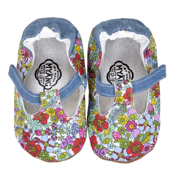 Myang - Shoes - T-Bar (Girl) - Bright Floral and Denim 2 - M0330