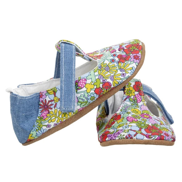 Myang - Shoes - T-Bar (Girl) - Bright Floral and Denim 3 - M0330