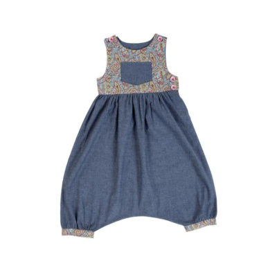 Myang - Girls Playsuit - Denim and Paisley - 1 M0335