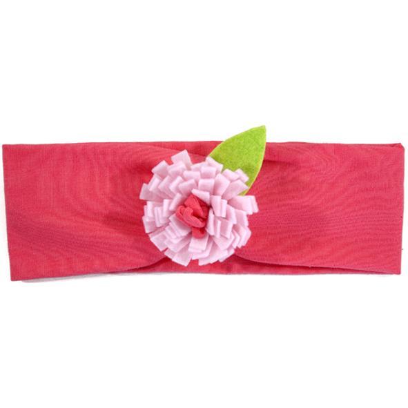 Myang Headband (Girls) - Bright Pink with Light Pink Flower 1 - M0042