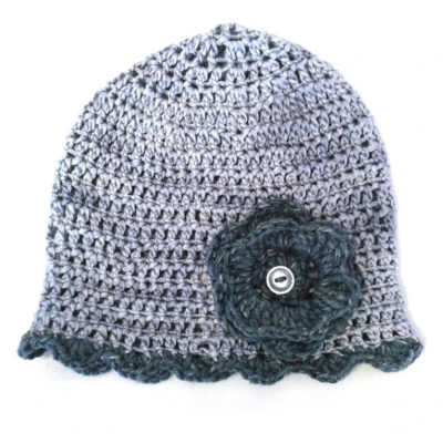 Myang - Winter Beanies (Girls) - Grey with Flower 1 - M0214