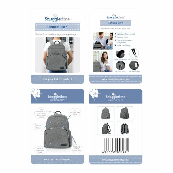 Snuggletime Nappy Bag Backpack - London Grey 4