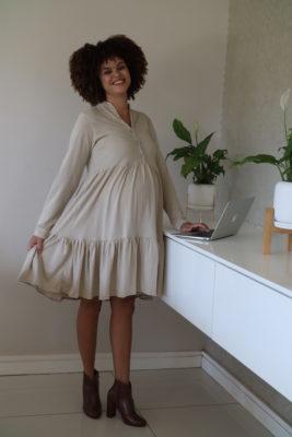 Hannah Grace Tiered Winter Dress - Beige 5