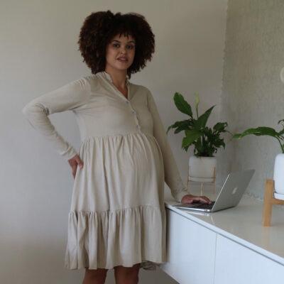 Hannah Grace Tiered Winter Dress - Beige 3