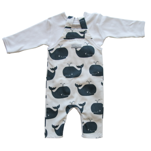 Dungaree & T-shirt Set, Steel Whales 2 Piece 1