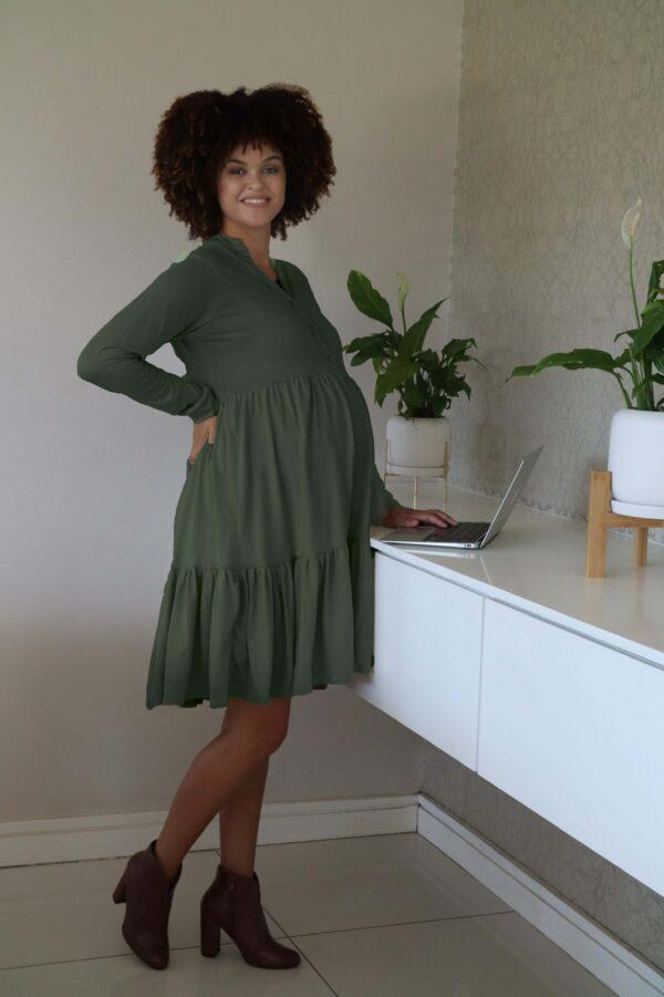 Hannah Grace Tiered Winter Dress - Green 2