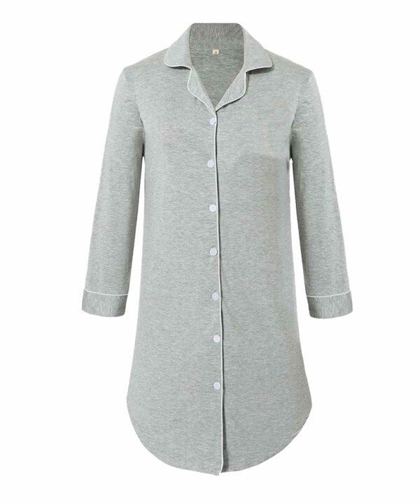 Hannah Grace Grey - Button Down Sleep Shirt 1