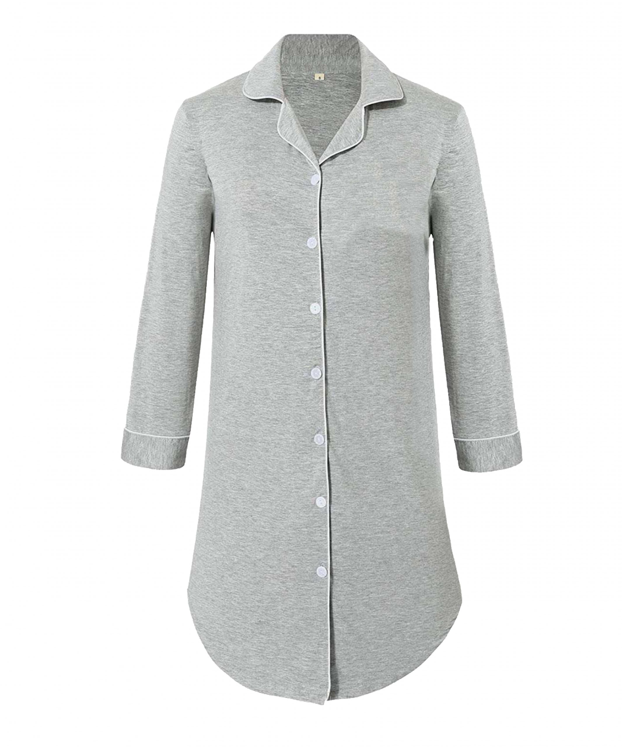 Hannah Grace Grey - Button Down Sleep Shirt 1