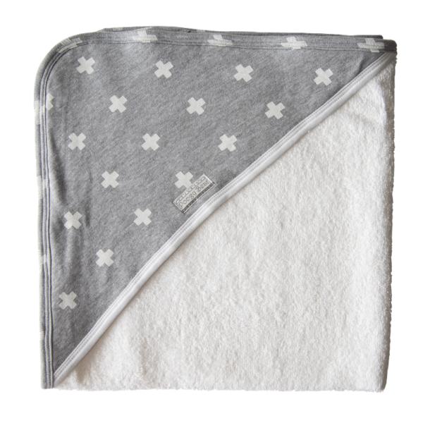 Super Soft Grey Crosses Hooded Towel 1