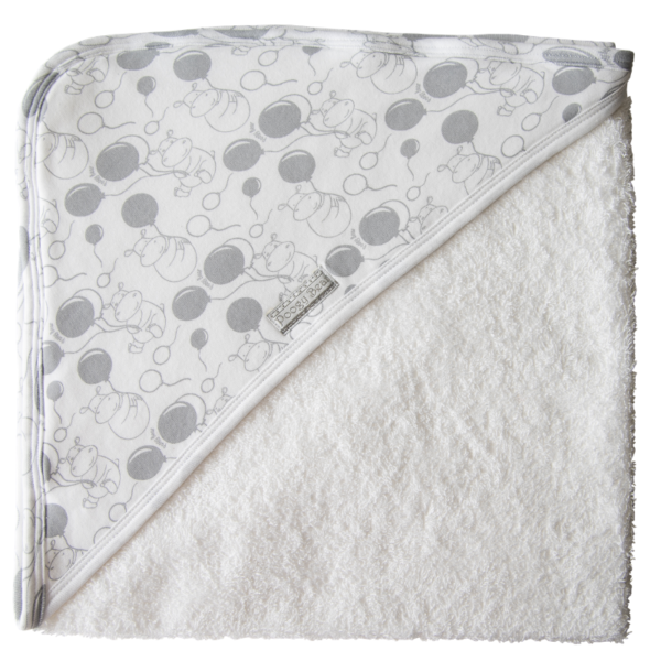 Super Soft Grey Hippo Hooded Towel 1