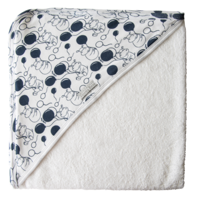 Super Soft Navy Hippo Hooded Towel 1