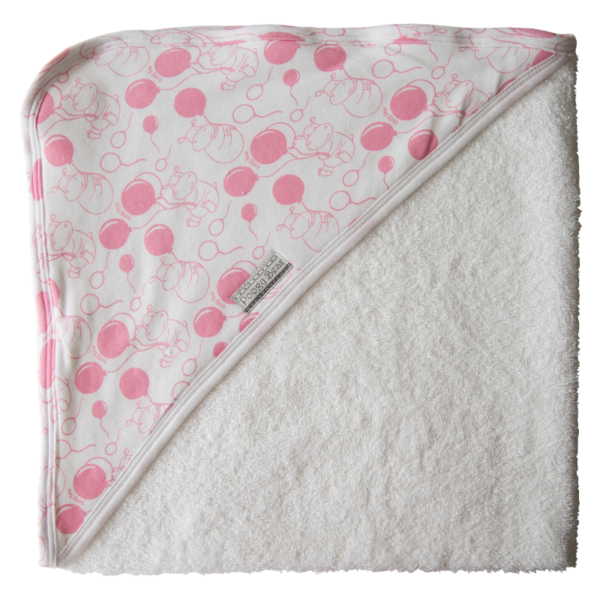 Super Soft Pink Hippo Hooded Towel 1
