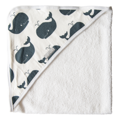 Super Soft Steel Whales Hooded Towel 1