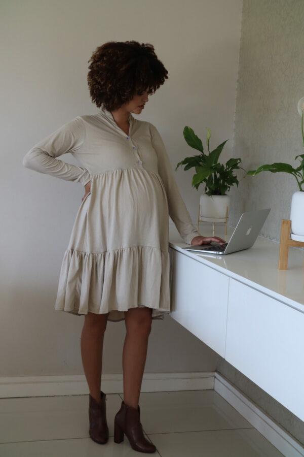 Hannah Grace Tiered Winter Dress - Beige 4