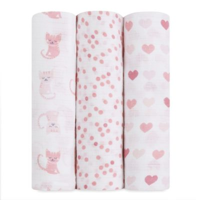 IB107 Ideal Baby Muslin Swaddle 3 Pack - Kitty