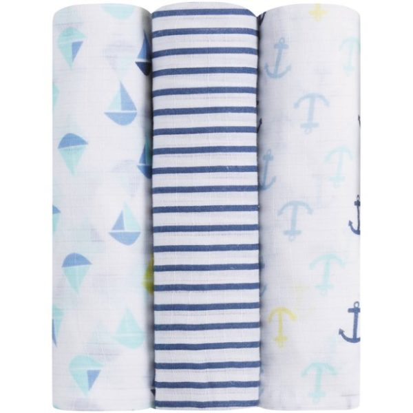 IB108 Ideal Baby Muslin Swaddle 3 Pack - Set Sail