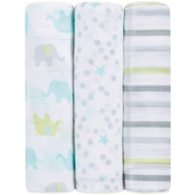 IB109 Ideal Baby Muslin Swaddle 3 Pack - Dreamy