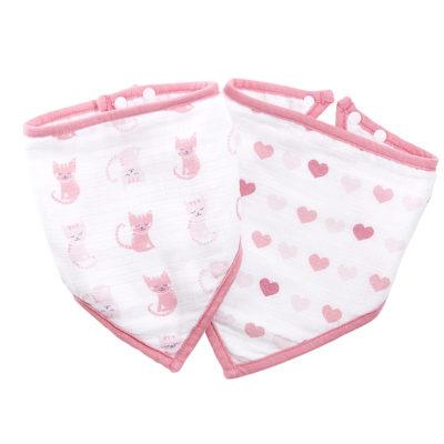 IB401 Ideal Baby Muslin Bib 2 Pack - Kitty