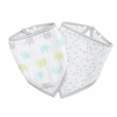 IB406 Ideal Baby Muslin Bib 2 Pack - Dreamy
